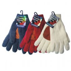 36 Units of WINTER Chenille Glove w/ Leather Palm HD - Leather Gloves