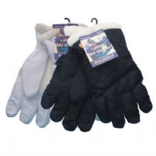 24 Units of Winter Ski Glove Ladies Black & White - Ski Gloves