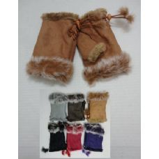 12 Units of Ladies Suede with Fur Fingerless Gloves