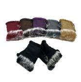 12 Units of Ladies Suede with Fur Fingerless Gloves [Solid Color] - Winter Gloves