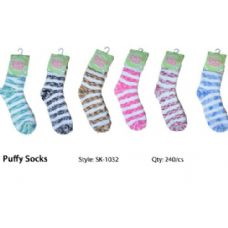 240 Units of Marble Stripe Fuzzy Sock