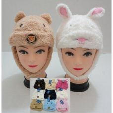 144 Units of Kids Plush Hat--Bear and Rabbit
