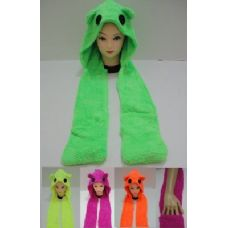 12 Units of Neon Color Winter Hat with Hand Warmer - Winter Animal Hats