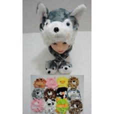 12 Units of New Style Plush Animal Hat with 2 Babies - Winter Animal Hats