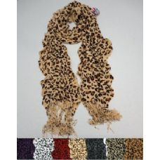 72 Units of Ruffle Scarf with Fringe--Leopard Prints - Winter Scarves