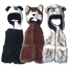 6 Units of Winter Animal Hat Long w/ Fur - Winter Animal Hats