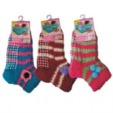 48 Units of Winter Socks Kids Knit w/ Non-Slip Bottom