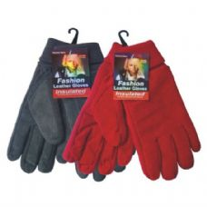 24 Units of Winter Glove Suede Women - Knitted Stretch Gloves