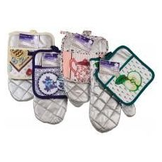 216 Units of Silver Colored Oven Mitt & Pot Holder Set (Assorted Prints) - Oven Mits & Pot Holders