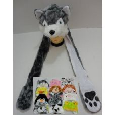 144 Units of Plush Animal Hats with Hand Warmers (Paw Print) - Winter Animal Hats