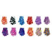 144 Units of Children's Feather Yarn Satin Dye Gloves