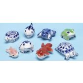48 Units of Porcelain Sea Animals Great For Fish Tank - Fishing Items