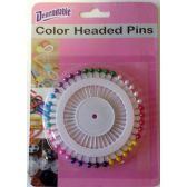 48 Units of Color Headed Straight Pins - Sewing Supplies
