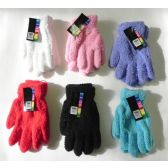 144 Units of Ladies Stretch Solid Fuzzy Gloves - Fuzzy Gloves