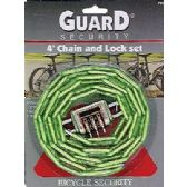 12 Units of Heavy Duty 4 ft Chain and Combination Lock - PADLOCKS/IRON/BRASS/COMBO
