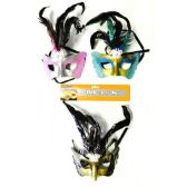 48 Units of Mardi Gras Halloween Feather and Glitter Mask - Masks