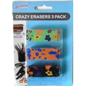 48 Units of Crazy Fashion Pencil Erasers 3 Pack - Erasers