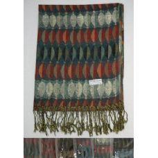 72 Units of Fashion Pashmina with Fringe--Metallic Elliptical Design - Winter Pashminas and Ponchos