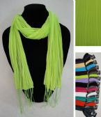 12 Units of Winter Fashion Scarf With Fringes - Winter Scarves