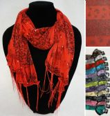 12 Units of Winter Light Scarf with Fringe--Roses/Leopard/Sparkle - Winter Scarves