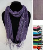 12 Units of Sheer Scarf with Fringe--Solid Color with ZigZag Sparkle - Winter Scarves