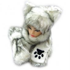 36 Units of Winter Animal Hat With Hand Warmer And Paws - Winter Animal Hats
