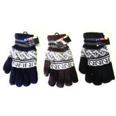 144 Units of Mens Knit Winter Gloves Printed Design - Knitted Stretch Gloves