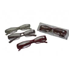 144 Units of Assorted Color Plastic Reading Glasses With Case - Reading Glasses