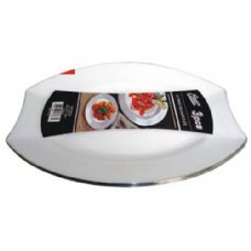 48 Units of Plastic White Plate Oval 9.5in 3PK - Plastic Bowls and Plates