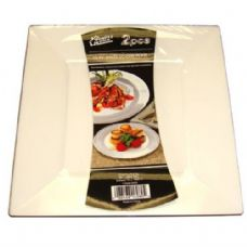 48 Units of  Plastic White Plate Square 10.75in 2PK - Plastic Bowls and Plates