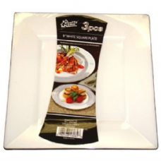 48 Units of  Plastic White Plate Square 8in 3PK - Plastic Bowls and Plates