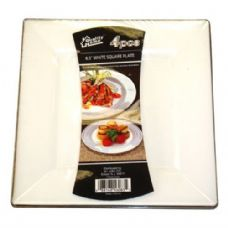 48 Units of  Plastic White Plate Square 6.5in 4PK - Plastic Bowls and Plates
