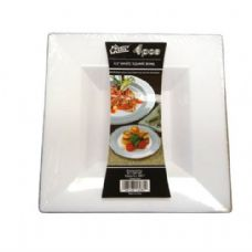 48 Units of  Plastic White Bowl Square 8.5in 4PK - Plastic Bowls and Plates
