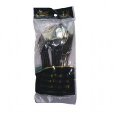 48 Units of Plastic Cutlery Chome 12CT Combo - Disposable Cutlery