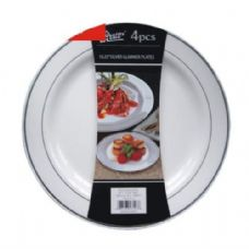 "24 Units of Plastic Plate 10.25"" 4PK Silver Trim - Disposable Plates & Bowls"