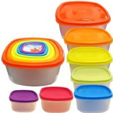12 Units of Rainbow Plastic 7 Container Set