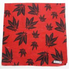 240 Units of Bandana-Red with Black Marijuana Leaves - Bandanas