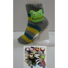 144 Units of Knit Non-Slip Striped Booty Socks with Characters 9-11 - Womens Thermal Socks