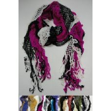 72 Units of Three-Colored Ruffled Knitted Fashion Scarf - Womens Fashion Scarves