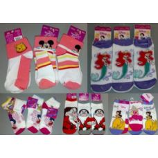 180 Units of Walt Disney Socks Girls 2 pack Socks - APPAREL PALLET DEALS