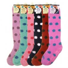 36 Units of ladies Knee High Sock With Polka Dot And Gripper Bottom
