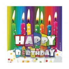288 Units of Happy Birthday Bright Candle Bev. Nap. 16 Ct. - Party Paper Goods
