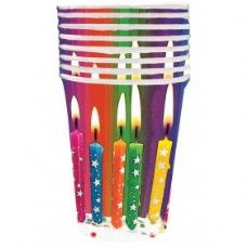 144 Units of Happy Birthday Bright Candle Cup 8 Ct. - Party Tableware