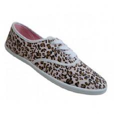 24 Units of Women's Print Canvas Shoes Cheetah Print - Women's Sneakers