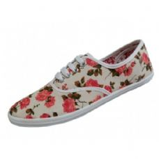 24 Units of Women's Print Canvas Shoes Floral Print - Women's Sneakers