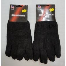 48 Units of 1pr Brown Jersey Glove - Knitted Stretch Gloves