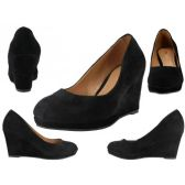 "12 Units of Women's Microsuede With 3 1/4"" Wedge Black Color Only - Women's Heels & Wedges"
