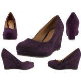 "12 Units of Women's Microsuede With 3 1/4"" Wedge Purple Color Only - Women's Heels & Wedges"