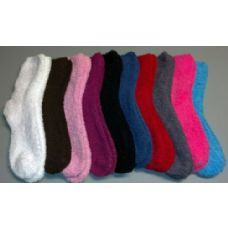 48 Units of Ladies Solid Color Fuzzy Sock Assorted Colors - Womens Fuzzy Socks