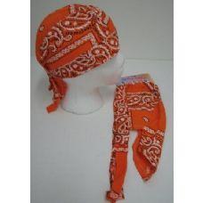 36 Units of Skull Cap-Orange Paisley - Bandanas